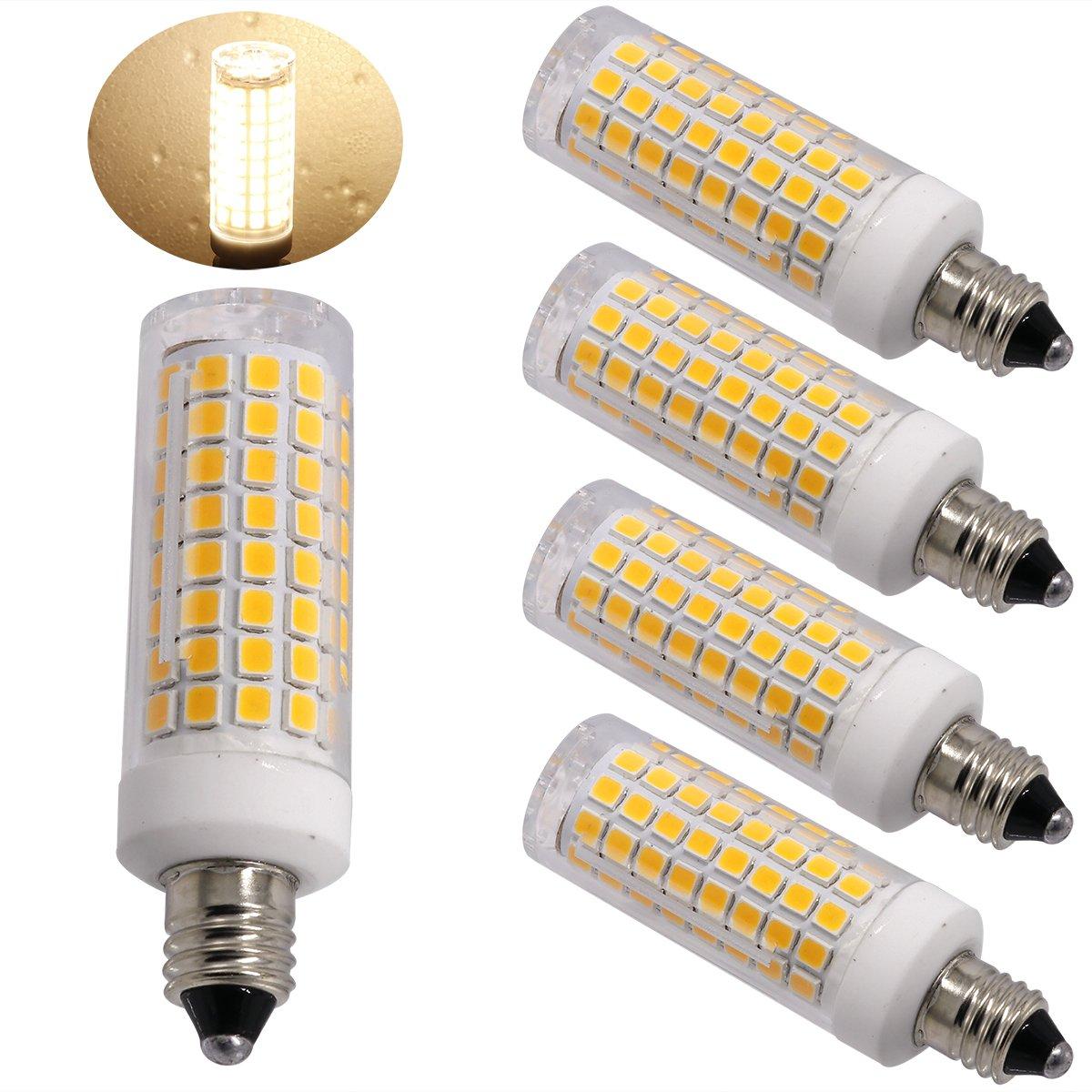 Ylaide E11 led Light Bulb 75W 10W Halogen Bulbs Equivalent, 1100lm, e11 Mini Candelabra Base 110V 120V 130V Input 60W 75W 100W Halogen Bulbs Replacement, Warm White 3000K Pack of 4 (Warm White 3000K)