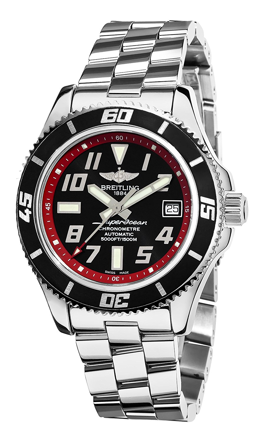 17429a3e05e Get Quotations · Breitling Men s A1736402 BA31SS Superocean Abyss Black and  Red Dial Watch
