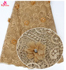 Cheap africe tulle net lace 3d flower lace embroidery fabric with beaded