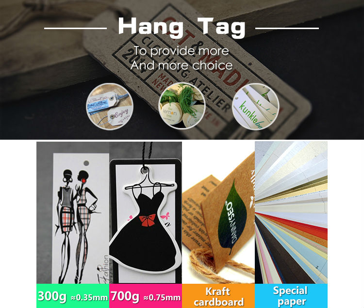 China Custom Printed Garment Paper Hang Tag With String