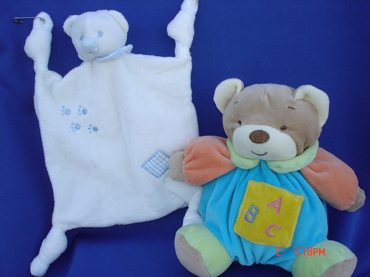 "Ultra Soft Baby Blue Teddy Bear Plush Blankie 7.5""x7.5"" Teething Blanket Lovie and My First Baby Blue Plush Teddy Bear Stuffed Animal Toy Rattle 7"" Tall, 2 Pcs Set"