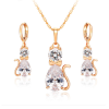 Gold Filled Crystal Kitty Cat Necklace Hoop Earrings Jewellery Sets