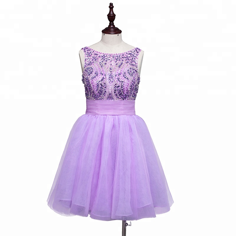 2018 Short Free Prom Dresses Purple Cocktail And Party Lady Cocktail Dress