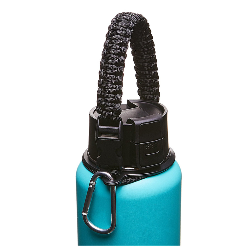 Outdoor Paracord Handle Carrier Survival Strap Cord Safety Ring Carabiner Wide Mouth Water Bottles 12oz - 64oz hydroflask handle, Over 100 colors