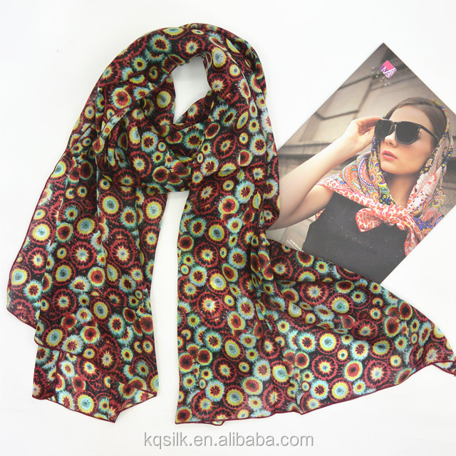 Hotselling two-color low MOQ silk habotai long scarves with floral pattern