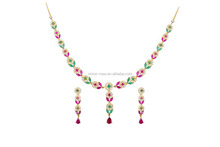 Coloré conception ruby cz bijoux différents de therest necklance ensemble