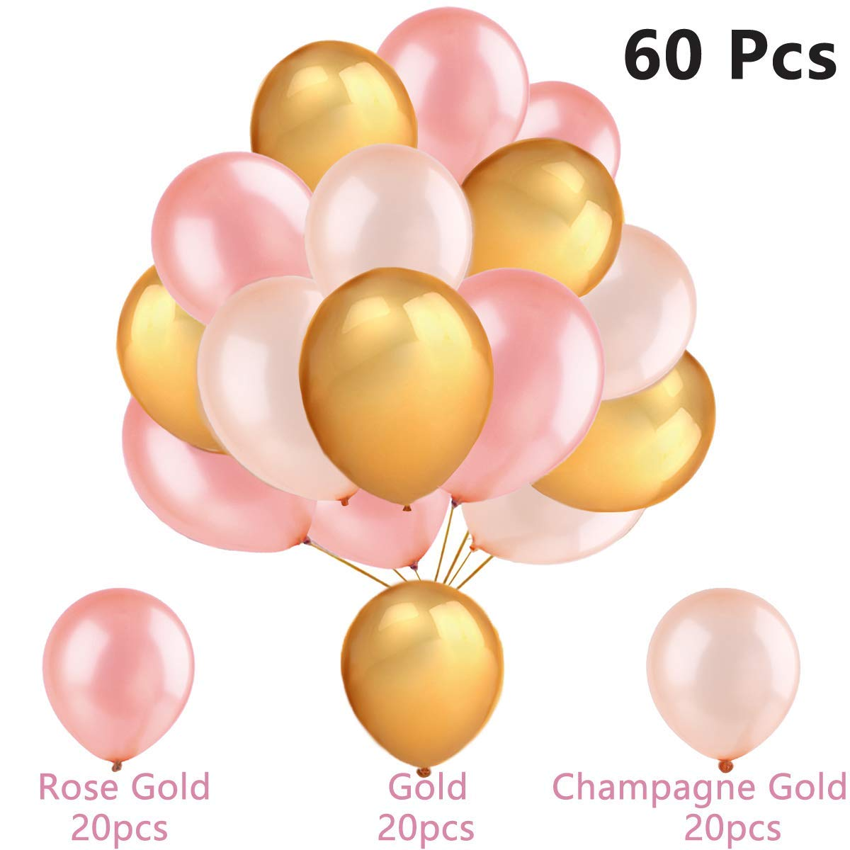 60Pcs Gold Balloons & Rose Gold Balloons & Champagne Gold Balloons, 12 Inch, Decoration Supplies for Wedding, Graduation, Birthday Party, Hawaii