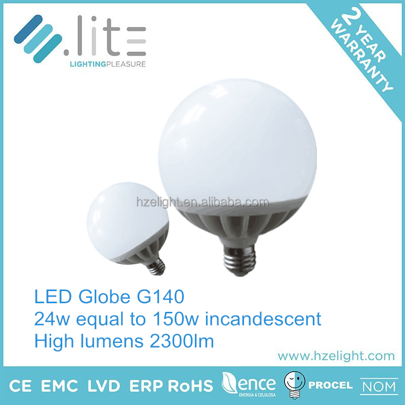 clear cover china factory manufacture globe g140 24w high power led bulb light