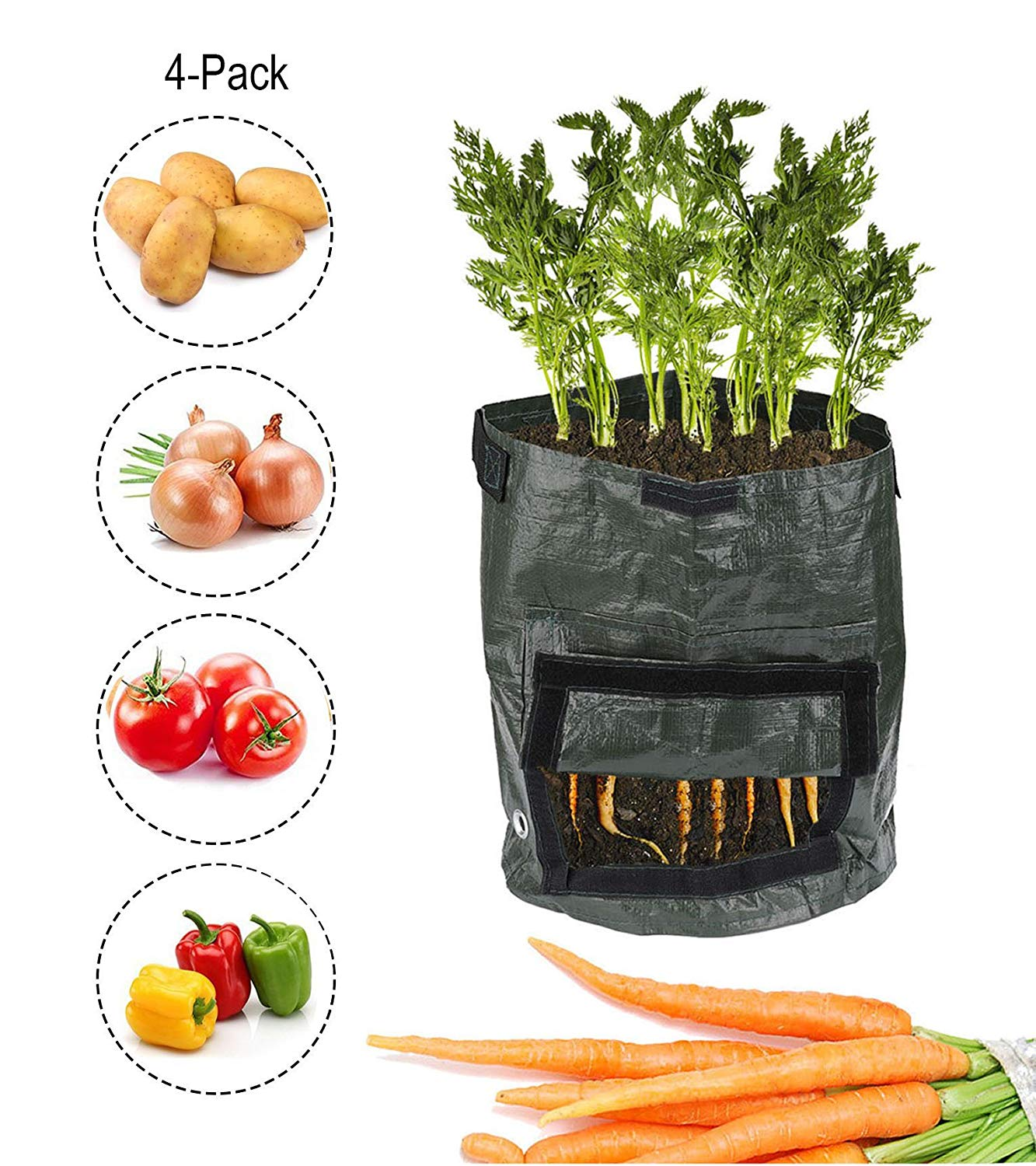 7Gallon Plant Grow Bags Garden Planter Bags Potato Growing Bags with Handles&Acess Flap,Planting Container,Eco-friendly Durable Reusable,for Harvesting Potato,Carrot,Onion,Tomato,Vegetable (4-Pack)