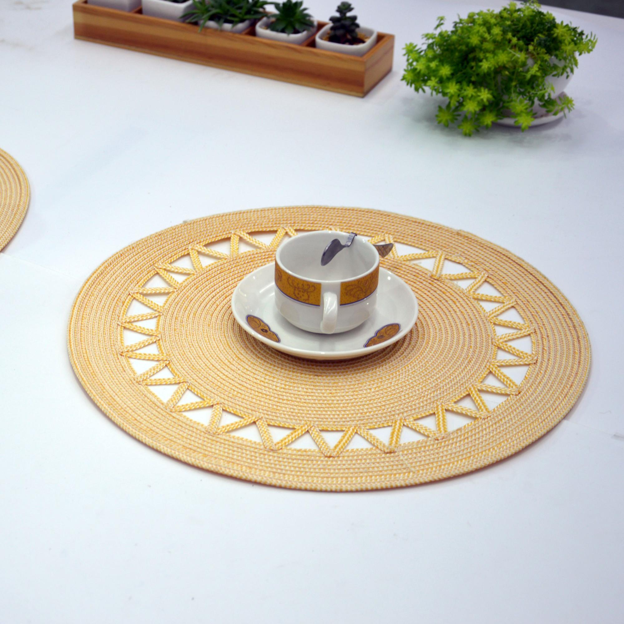 Reusable woven straw kitchen pvc placemats,paper mat
