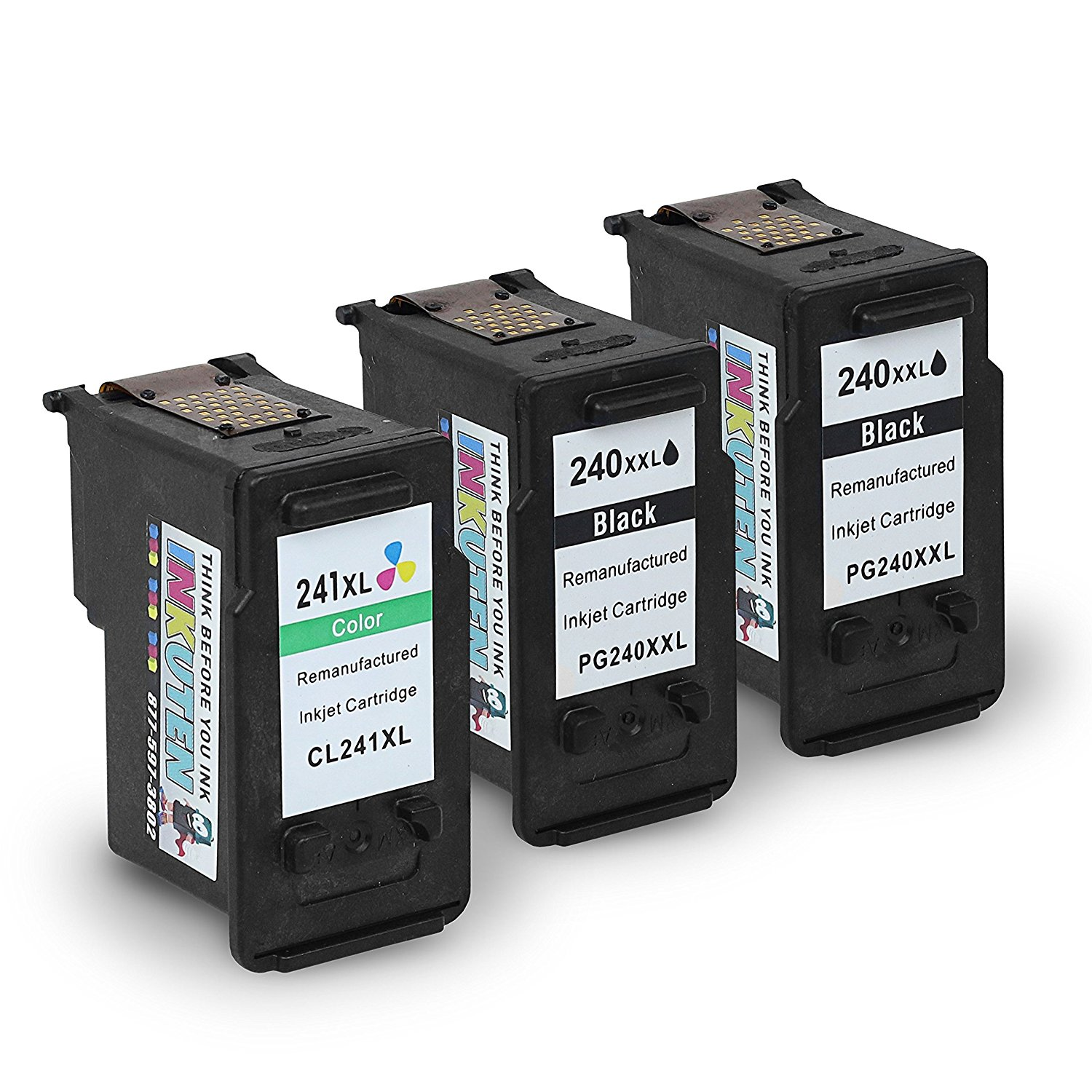 INKUTEN (TM) Remanufactured Ink Cartridge Replacement For Canon PG-240XXL CL-241XL Extra High Yield 5206B001 5208B001 (2 Black, 1 Color) 3-Pack