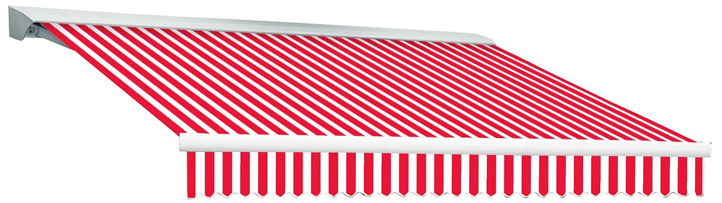 AWNTECH 12-Feet Destin-LX with Hood Left Motor/Remote Retractable Awning, 120-Inch, Red/White