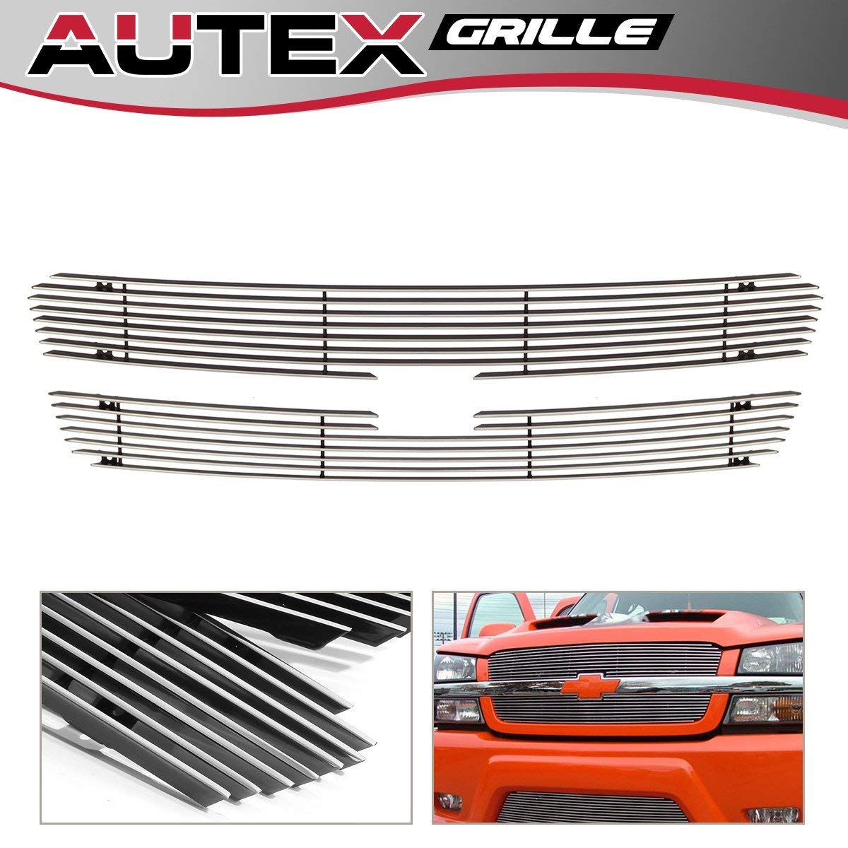 AUTEX 2x Upper Aluminum Billet Grille Insert C65717A Compatible With 2003-2005 Chevy Silverado 1500/1500 SS/1500 HD, 2003-2004 Silverado 2500/3500/2500 HD, 2002-2006 Chevy Avalanche 1500/2500