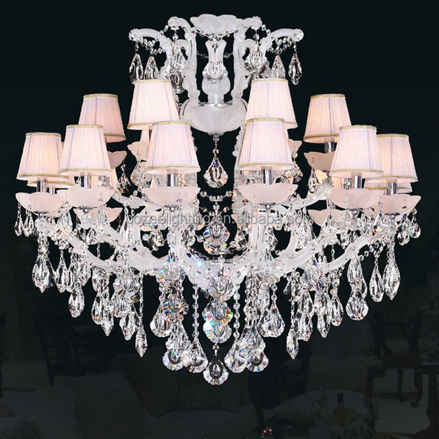 Large Maria Theresa Crystal Chandeliers Dubai Lighting Suppliers Restaurant White Hanging Pendant Lamp Light Cz6017