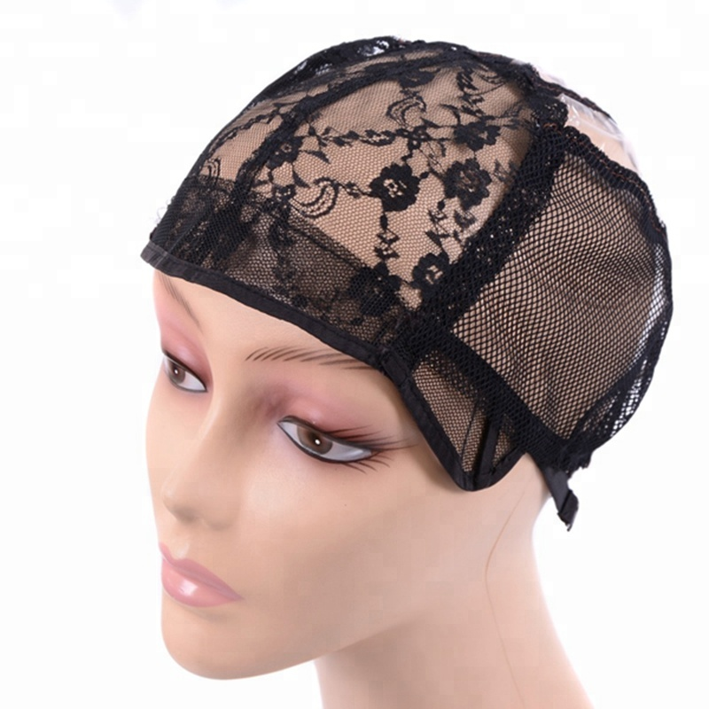 Women Lace Black Net Glueless VentilationWeaving Mesh Wig Cap For Making  Wigs With Adjustable Strap 2ef22435a