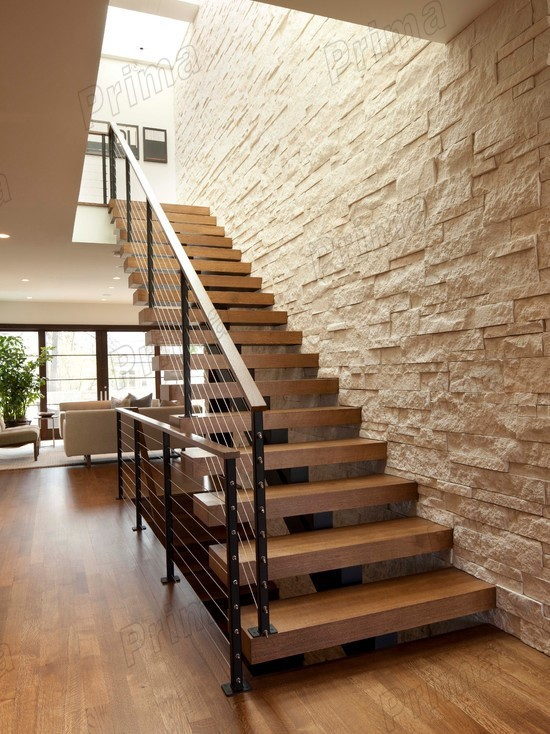 Indoor Wooden Stairs Railing Steel Staircase