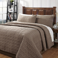 For Sale Multineedle Sewing Zig Zag Taupe Textured Cotton Quilt