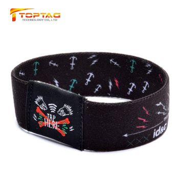 Stretchy Rfid Wrist Band Chip Embedded Woven Nfc Elastic Wristband With Qr  Code Printing - Buy Rfid Elastic Woven Wristband,Stretchy Woven Rfid