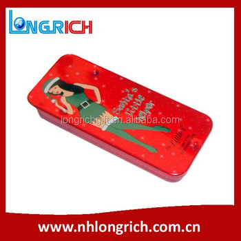 Christmas rectangular small mint candy tin box with sliding lid, push and pull box