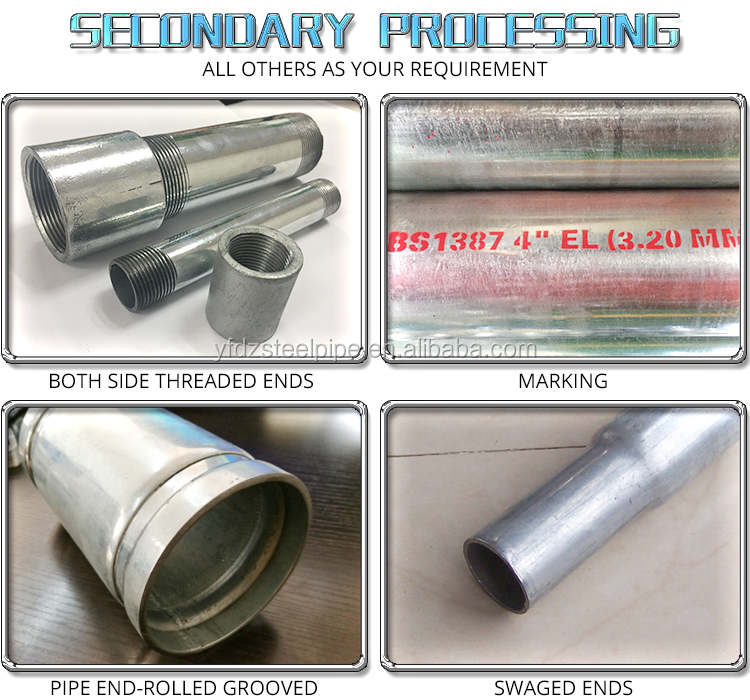 alibaba website BS 4568 conduit threaded ends hot dipped galvanized steel pipe manufacturers