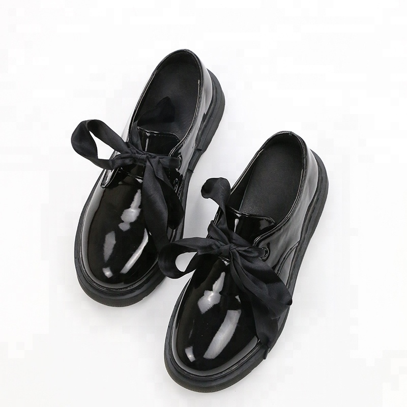 leather with flat fashion Shallow bottom mouth leather shoes patent w0FfXUq