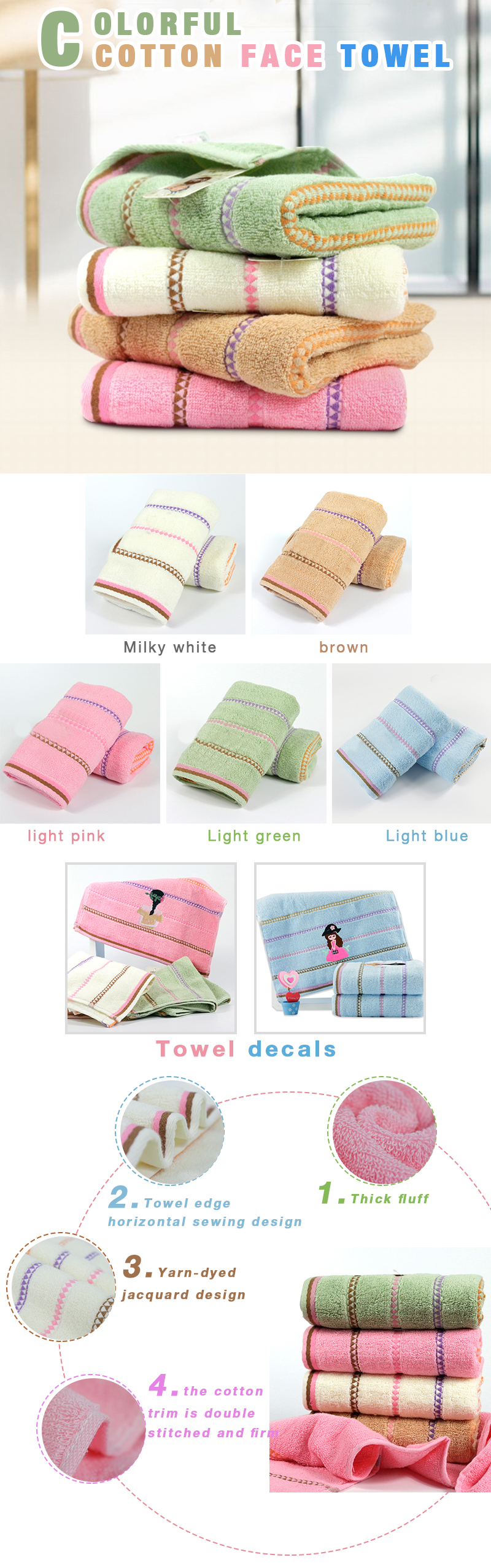 Wholesale Jacquard Embroidery Pattern Home Cotton Face towel