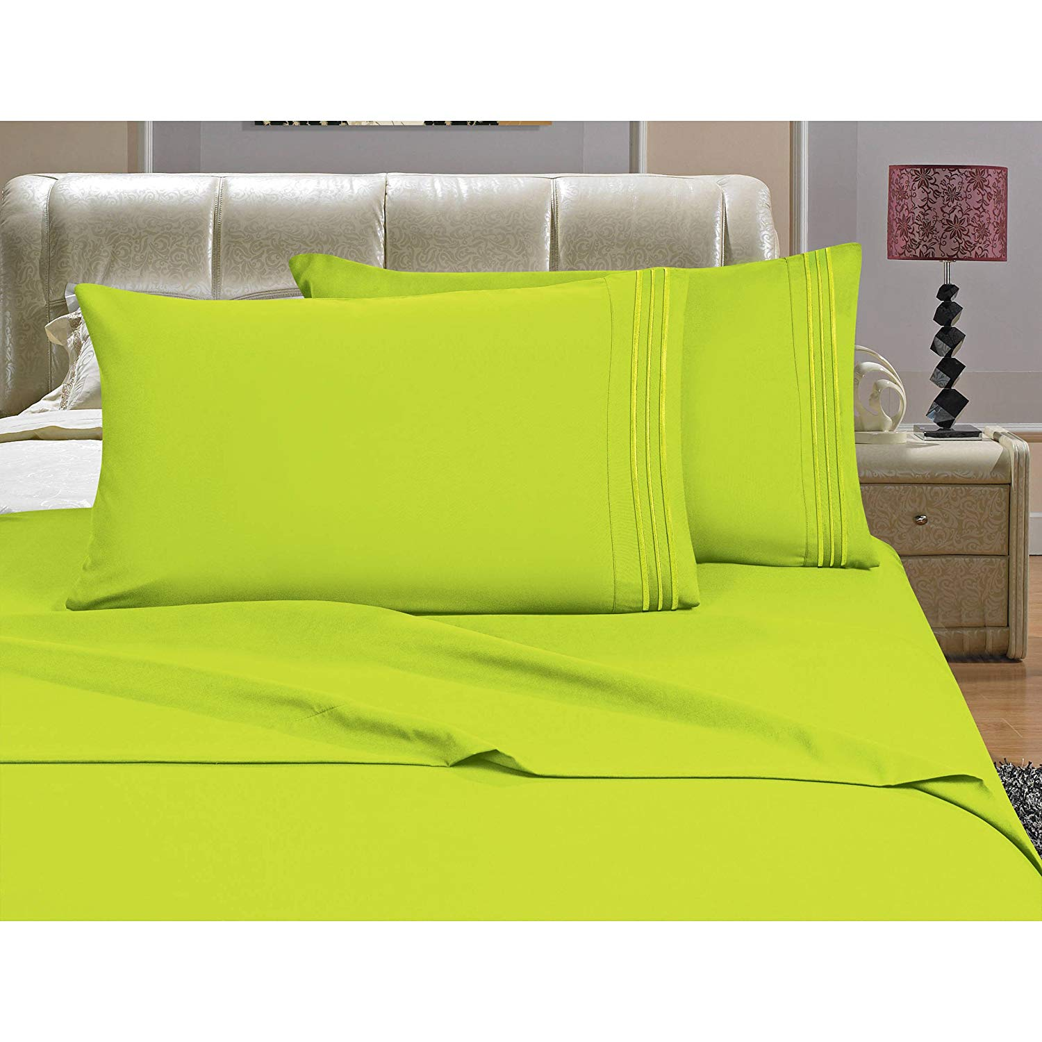 D&A 4 Piece Beautiful Lime Green Full Sheet Set, Deep Pocket Bedding Embroidered Stripe Comfortable Chic Elegant Solid Classic Breathable Soft Cozy Luxurious, Microfiber, Polyester