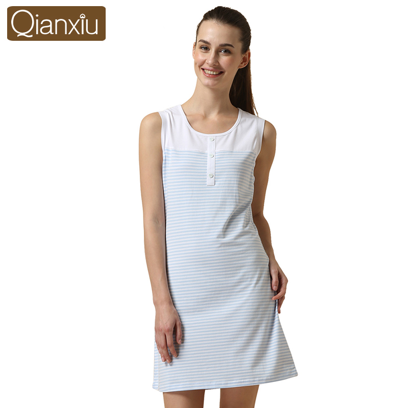 Best selling Qianxiu plain color attractive design nightgown