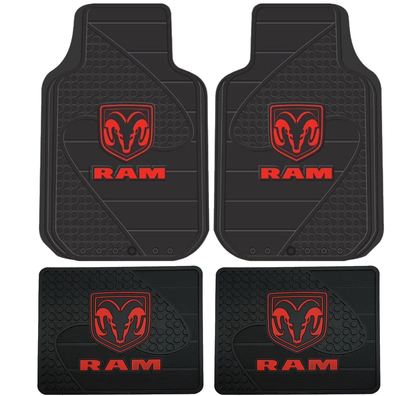 Dodge Ram Head Logo 4 Pc Floor Mats Set