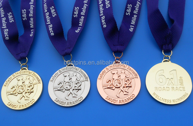 Road race 6x1 mile gold silver and bronze medallions for Saudi Aramco