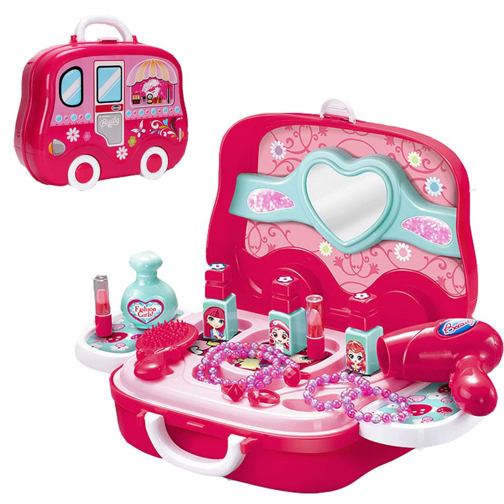 Little Girls Pretend Makeup Kit Cosmetic Pretend Play Set Kids Beauty Salon Makeup Set Toy for Children Best Gift Set with Mirror