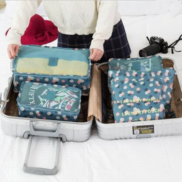 6 pieces set polyester travel bag six different sizes bags for shoes clothes toiletry/laundry bag