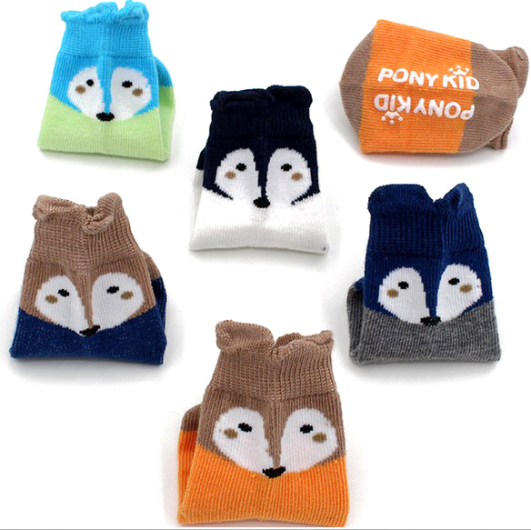 EVERTOP new fox cotton cartoon baby socks with floor non-slip and Yellow High quality for baby