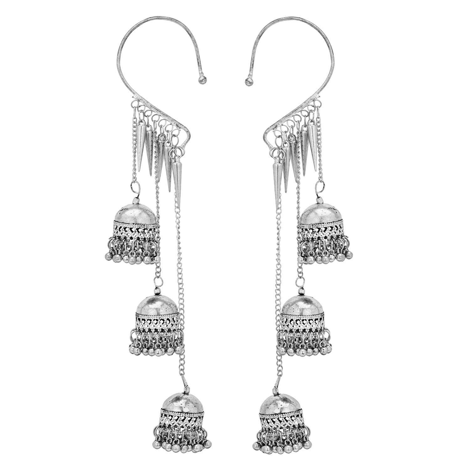 Subharpit Blue Oxidized Silver Metal Indian Jhumka Jhumki Earrings for Women /& Girls