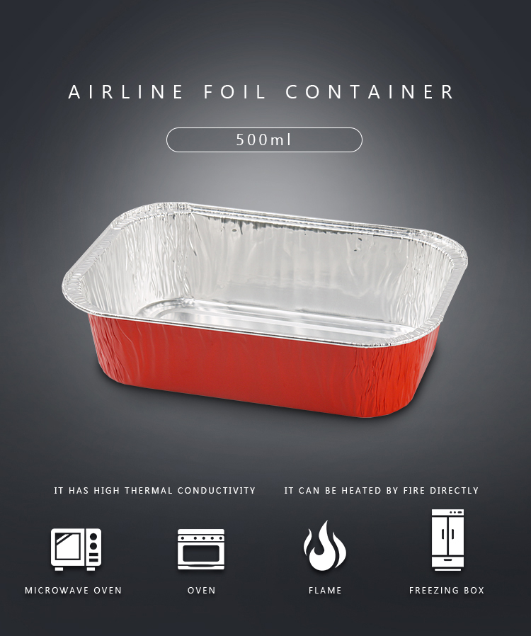 Disposable Color Coated Aluminum Foil Aviation Food Container