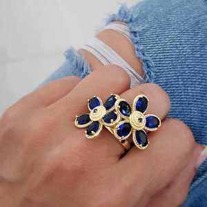 Femme Fashion 925 Silver Blue Zircon Gold Plating Flower Shaped Customer Adjusted Ladies Big Rings