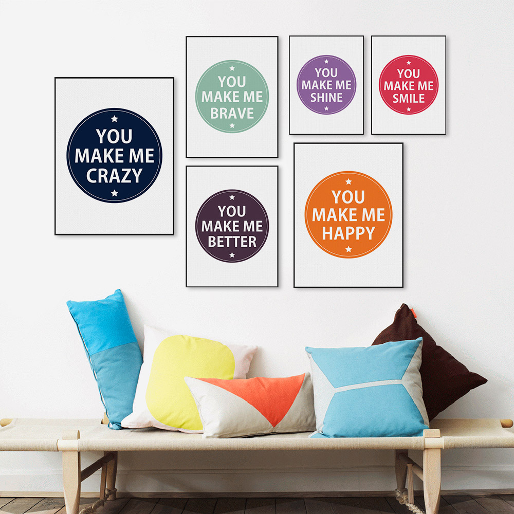 Nursery Ideas And Décor To Inspire You: Minimalist Nordic Colorful Motivational Typography Quotes