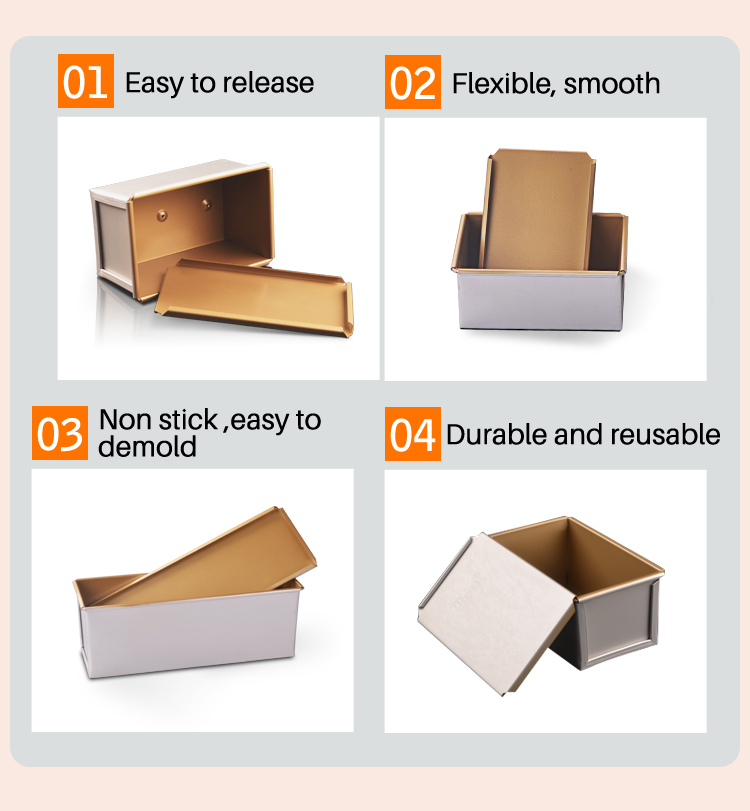 manufacturer wholesale Golden Non Stick Rectangle toast box and lid