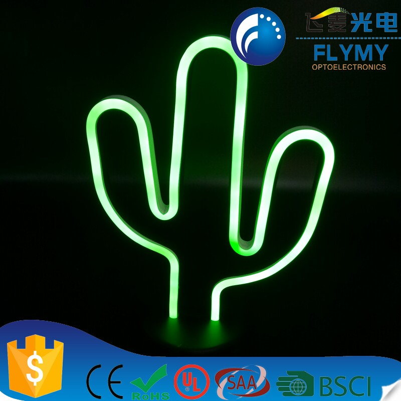 New Design LED Cactus Neon Christmas Decor Light with Base Home Night Table Light Indoor Decor