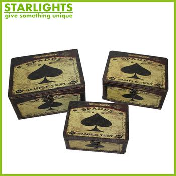 Spades heart vintage storage boxeswood chest setMINI WOODEN RETRO BOX & Spades Heart Vintage Storage BoxesWood Chest SetMini Wooden Retro ...