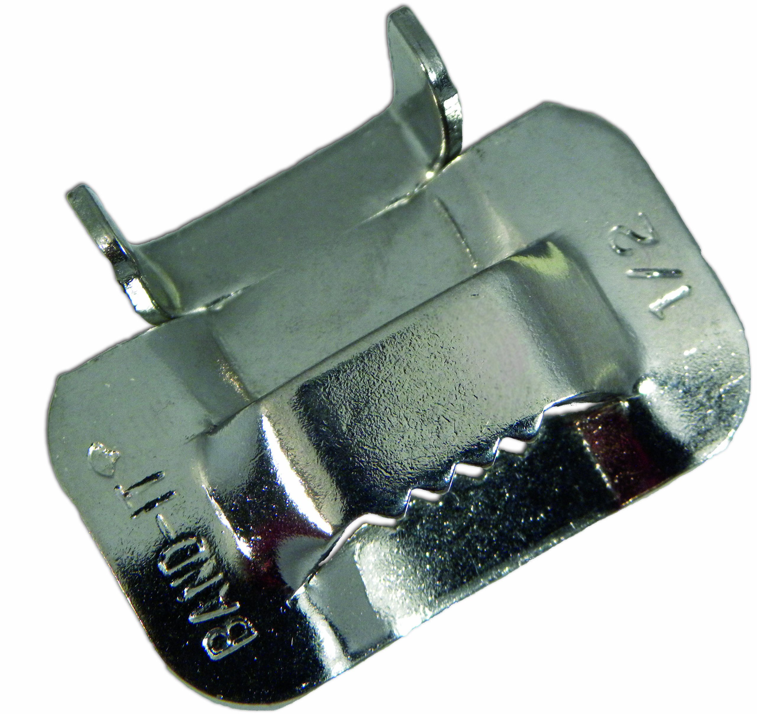 "BAND-IT C25499 201/301 Stainless Steel Ear-Lokt Buckle, 1/2"" Width, 100 per Box"