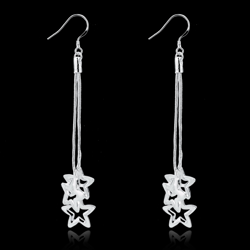 Fashion Earring Designs New Model Earrings With Multi Stars Pendant Snake Chain Silver Earring