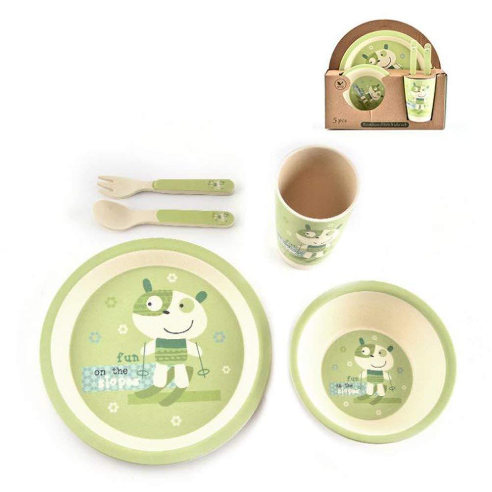 VANRA Children Dinnerware Set of 5 Stainless Steel Feeding Set for Kids Students Boys Girls BPA Free Cup//Spoon//Fork//Bowls Green