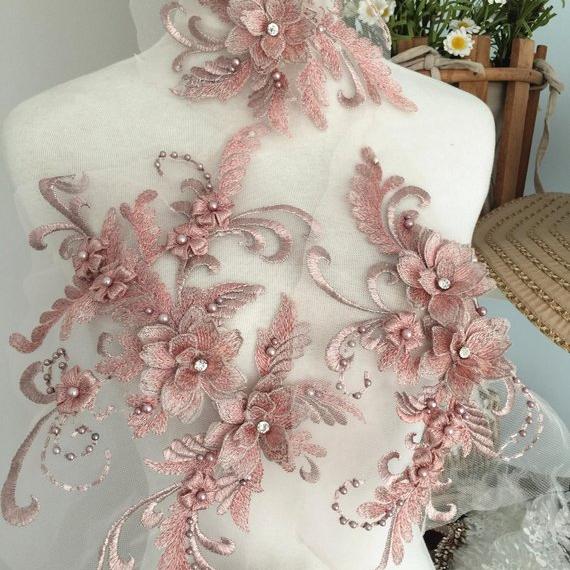 Exquisite Pearl Beaded 3D Lace Applique Set ,Metallic Silver Thread Applique for Dance Costumes Lyrical bridal lace applique фото