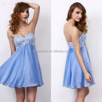 Cheap 2014 Short Chiffon Prom Dress With Lace Bodice Simple Blue ...