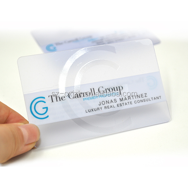 Transparent business card Cheap plastic PVC namecard printing