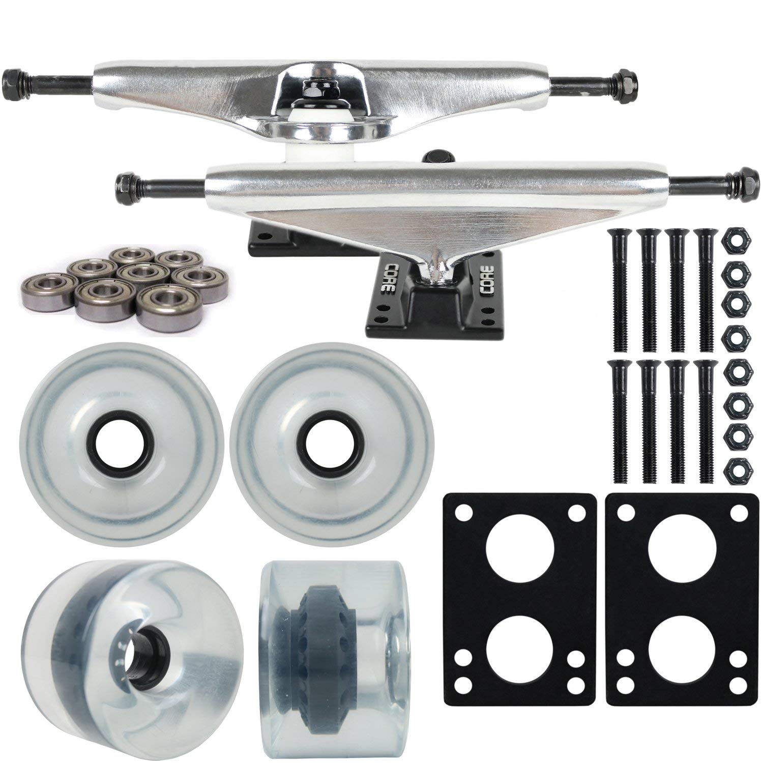 "Longboard Skateboard Trucks Combo Set 76mm Blank Wheels with Silver Trucks, Bearings, and Hardware Package (76mm Clear Wheels, 7.0 (9.63"") Silver Trucks)"