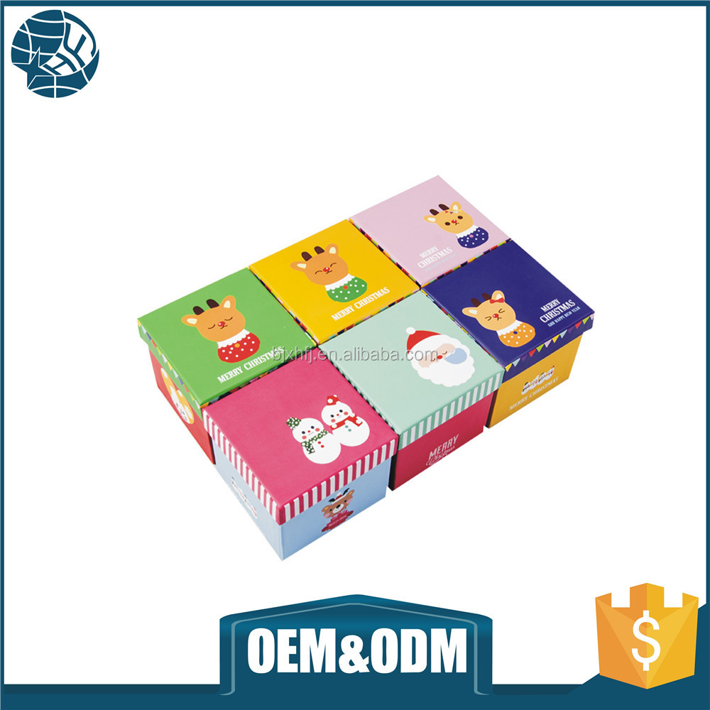 Customize cute cardboard printed logo chrismas gift paper box