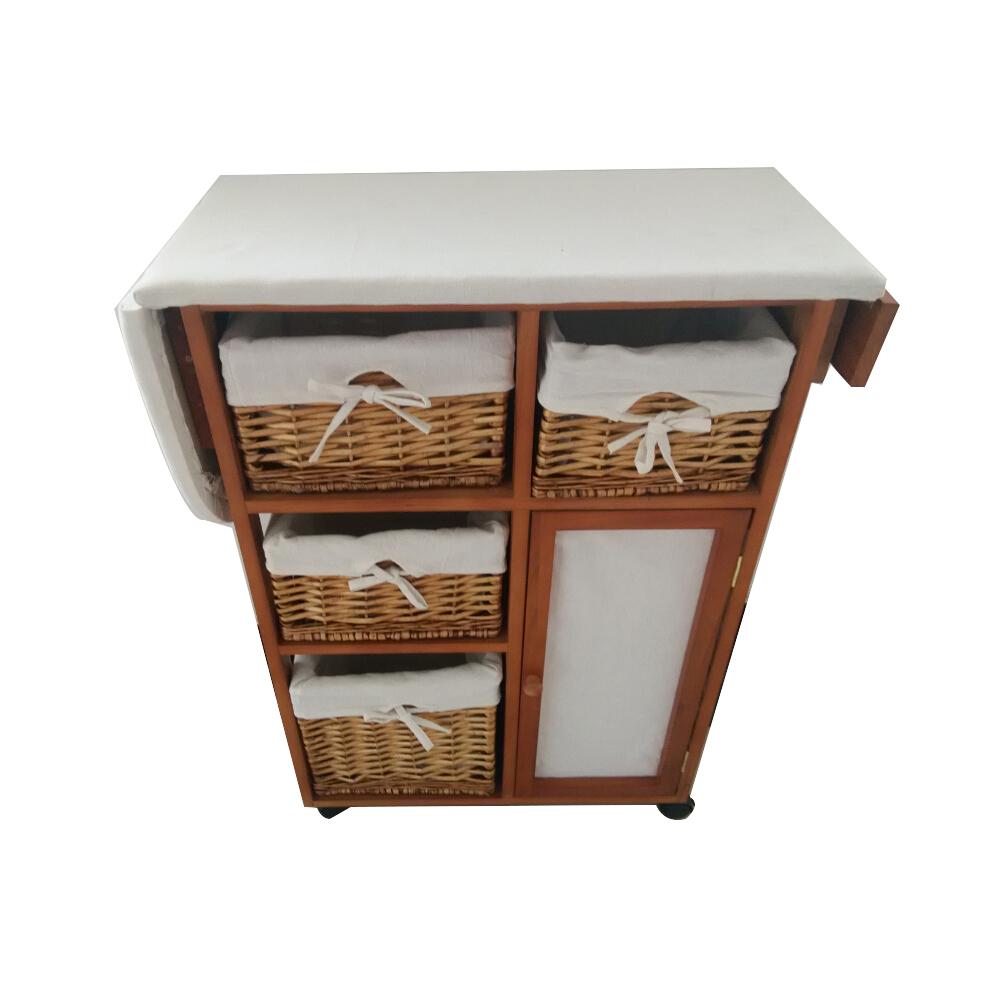 מפעל סיטונאי זול מותאם אישית גודל מוצק עץ מתקפל גיהוץ לוח אחסון ארון עם נצרים מגירה