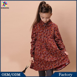 100%Cotton Good Quality Long Sleeve Flower Girl Dress Printed Grinding Wool Woven Children Clothes